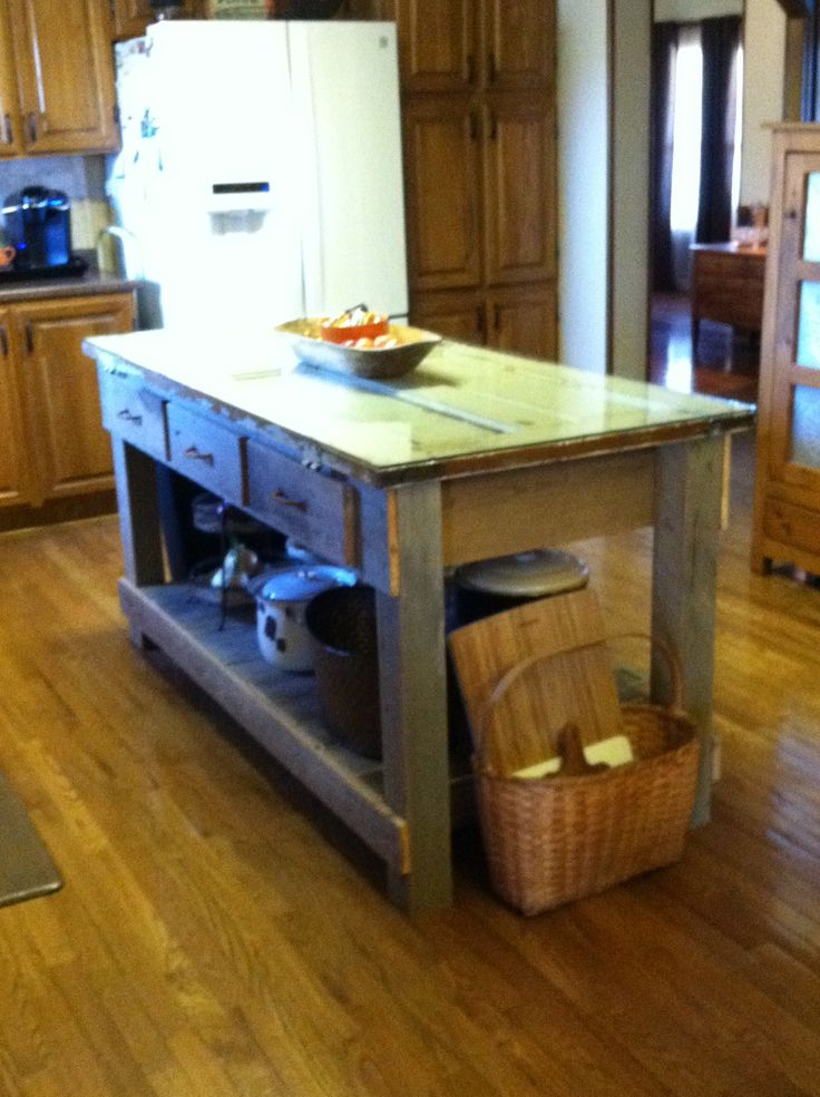 Kitchen Island Made From Old Barn Wood Pallet Wood And My Grandmothers Old Door Thanks To My