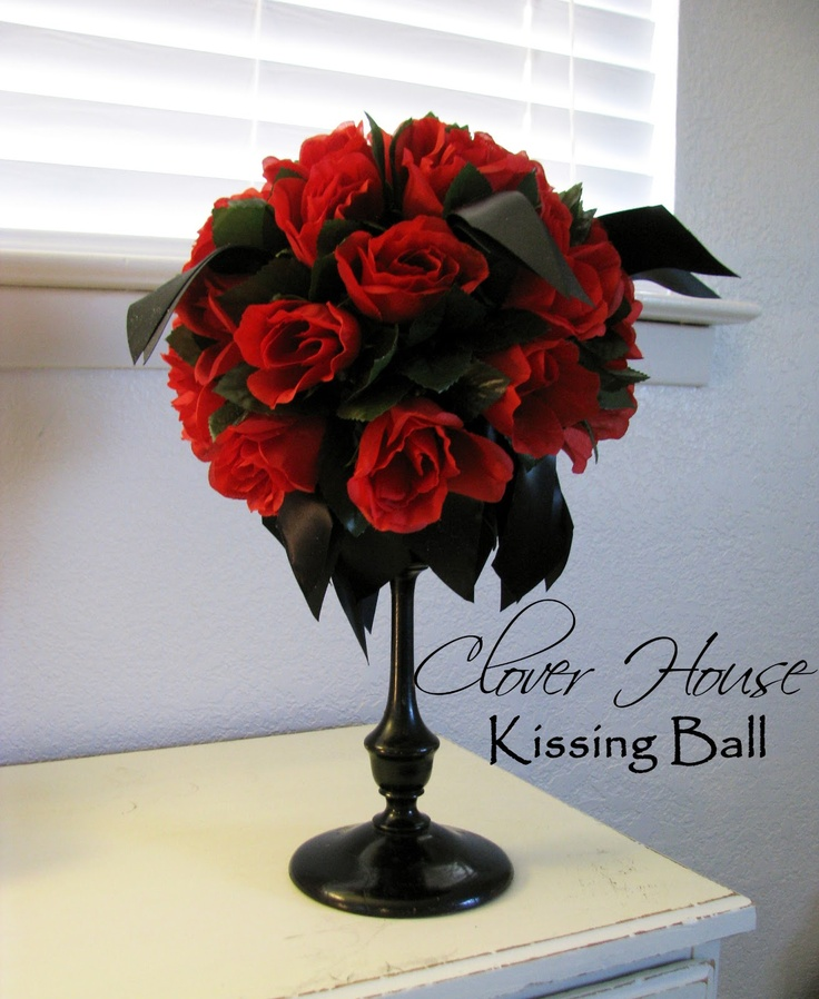 DIY Pretty Rose Kissing Ball Tutorial...so easy and so pretty, love the stand it's on!