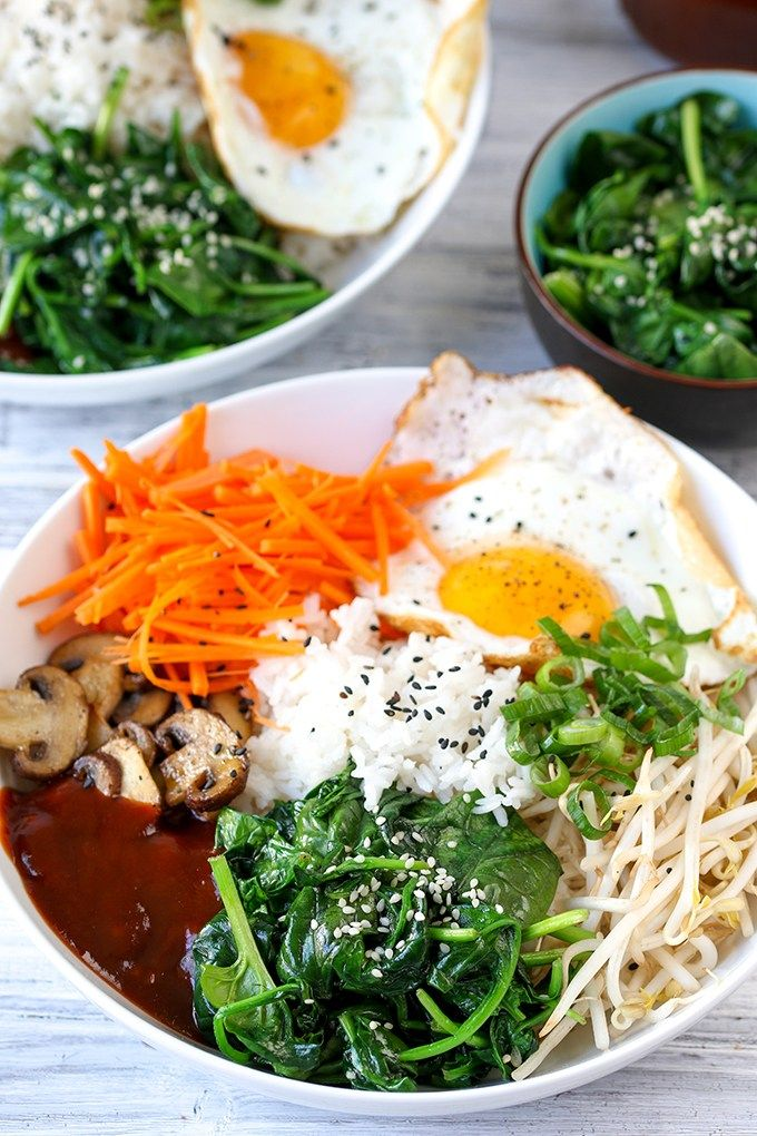 Vegetable Bibimbap with gochujang - lots of healthy goodies in this Korean style recipe!