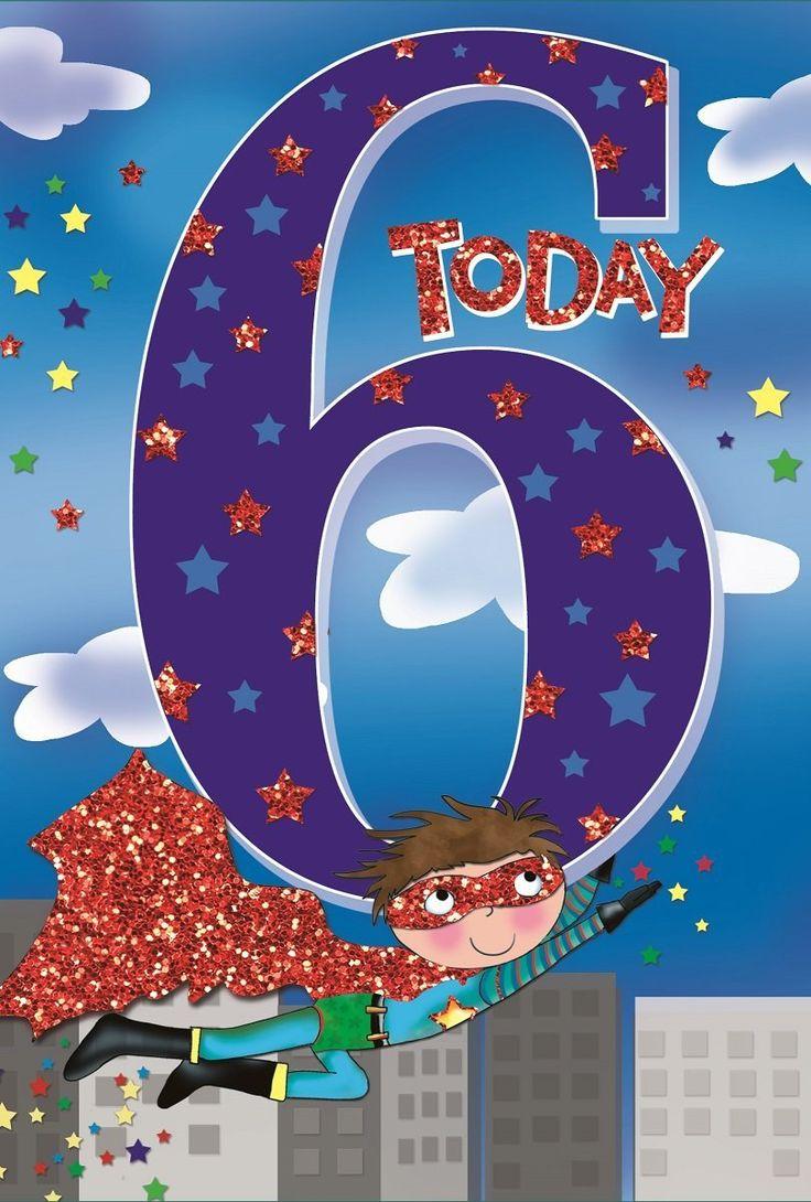 Age 6 boy birthday card superhero tall buildings