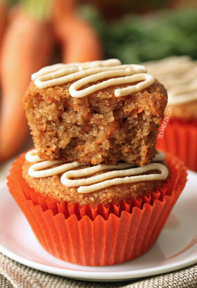 Healthier Carrot Cake Cupcakes (grain-free, gluten-free, paleo and dairy-free options)  #justeatrealfood #texanerin
