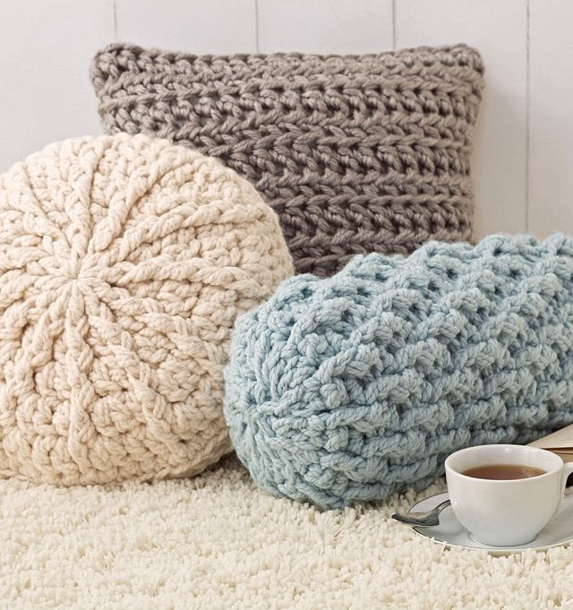 1. I just love these chunky crochet pillows! 2. This cabled blanket is definitely on my to do list! 3. Stephanie's Twist Cowl is so cozy!4. Bootcuffs; because they are a winter essential! 5. A chunky
