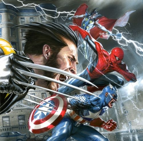 Wolverine, Thor, Spider-man and Captain America