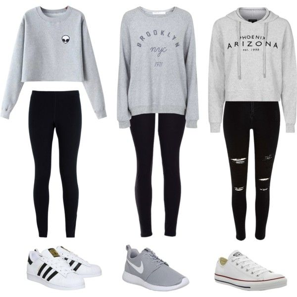 3 cute outfits by olivia-clarkk on Polyvore featuring polyvore, moda, style, Topshop, Chicnova Fashion, NIKE, River Island, adidas, Converse and fashion