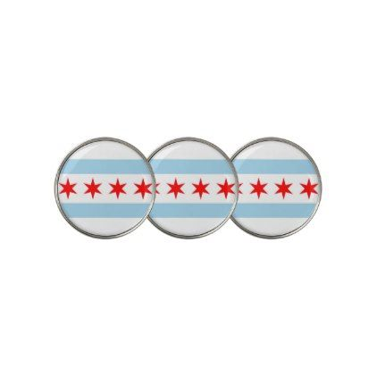 Golf Ball Marker with Flag of Chicago USA - elegant gifts gift ideas custom presents