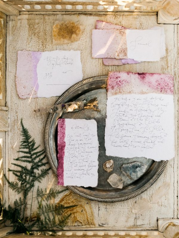 dip-dyed wedding stationery