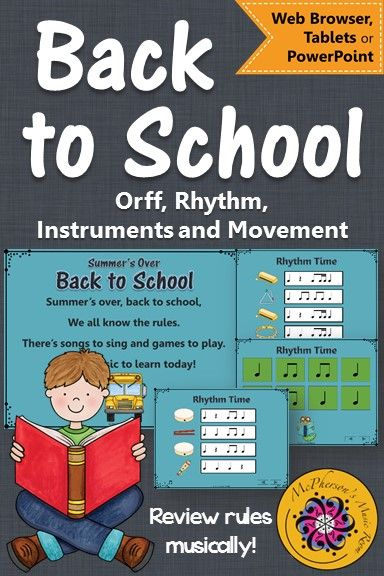 Fun elementary music lesson plan for back to school, reviewing rules along with rhythm concepts and non-pitched percussion instruments! Great Orff Lesson!