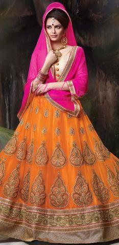 Ritu Kumar Lehenga Choli Orange Net Silk Semi Stitched ND1103D10166