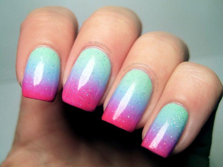 Manucure printanière deux coloris #manucure #pastel #printemps #couleurs #bleu #rose