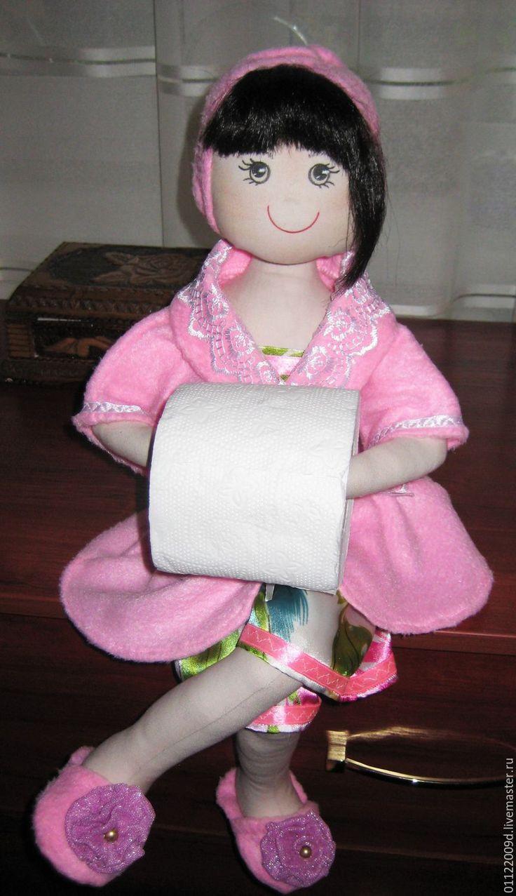 Купить Текстильная кукла- держатель туалетной бумаги - желтый, держатель, кукла ручной работы
