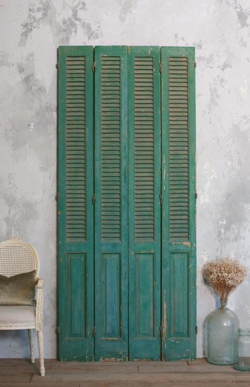 Vintage French Shutters As Closet Doors