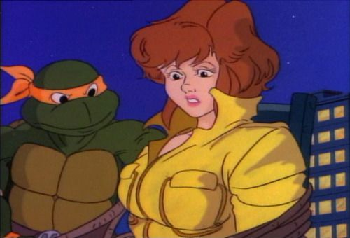 "April - ""I dont remember them being this huge"". Donatello - ""I do."""