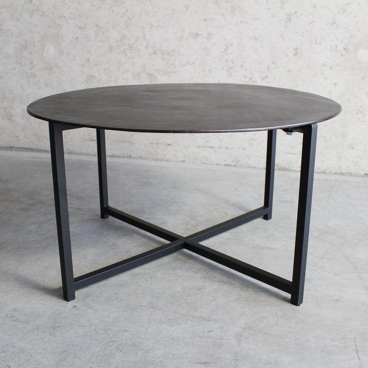 Salontafel metaal zwart brons top