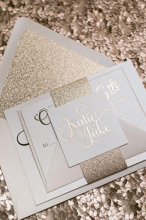 Foil Rose Gold Glitter Wedding Invitation von JustInviteMe