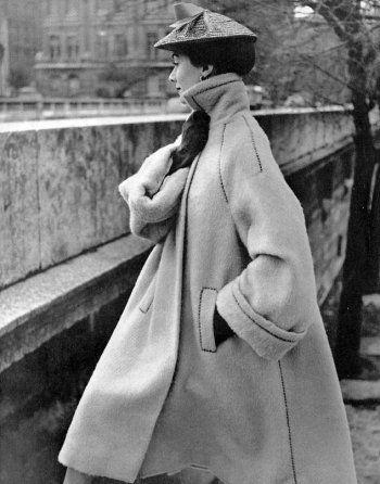 Pierre Balmain, Coat, photographed by Philippe Pottier, 1951