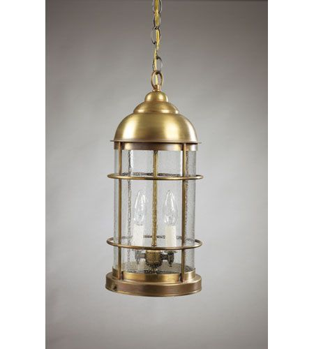 Northeast Lantern 3532-AB-LT2-CSG Nautical 2 Light 8 inch Antique Brass Hanging Lantern Ceiling Light in Clear Seedy Glass #LightingNewYork