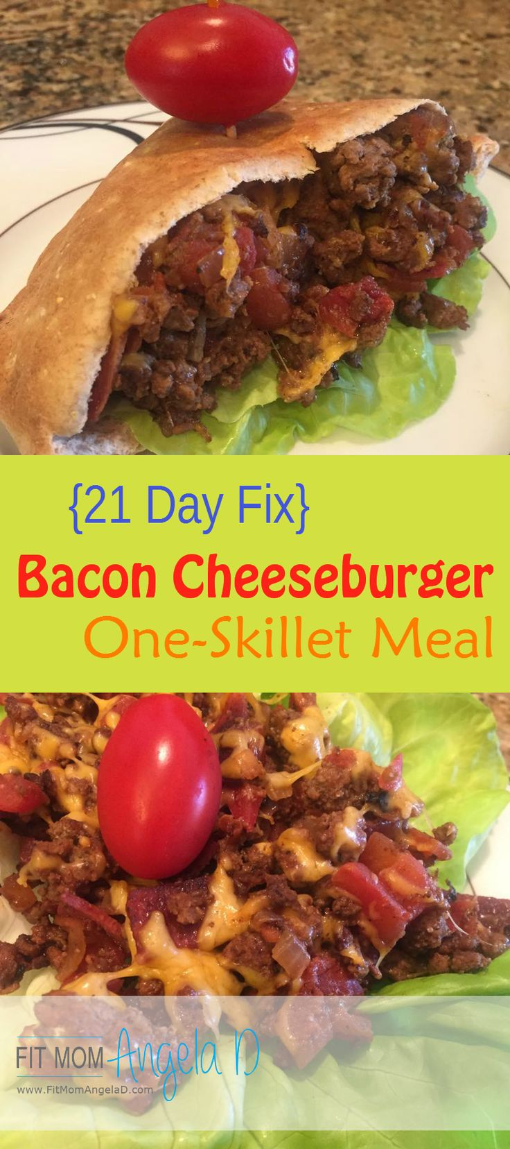 21 Day Fix Bacon Cheeseburger Skillet   Healthy Dinner   Clean eats   FitMomAngelaD.com   Husband approved dinner