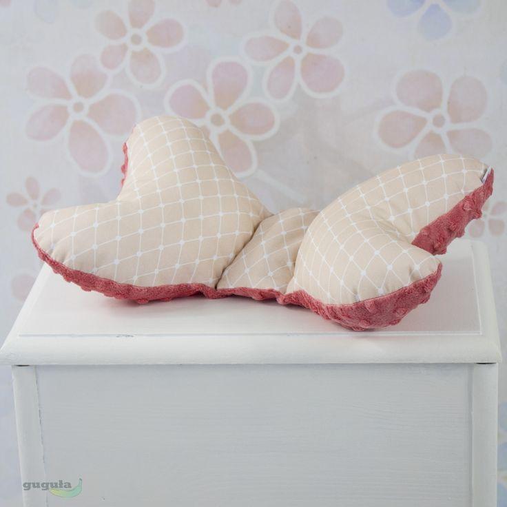 Poduszka motylek minky malinowy/różowe romby