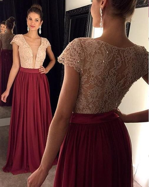 Burgundy Prom Dresses,Lace Evening Dress,Prom Gowns With Sheer
