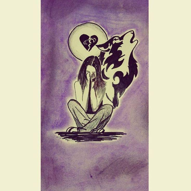 """Coz I'm not leavin' ... #sketch #cool #artist #soundsgoodfeelsgood #myart #drawing #thegirlwhocriedwolf #sadness #wolf #cry #5sosfam #5sos"""