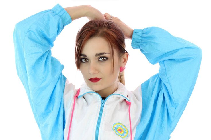 90s Windbreaker Jacket 80s Vintage Light Blue White Pink Colorblock Sport 1980s 1990s Workout Running Womens Small S Medium M by neonthreadsdesigns on Etsy