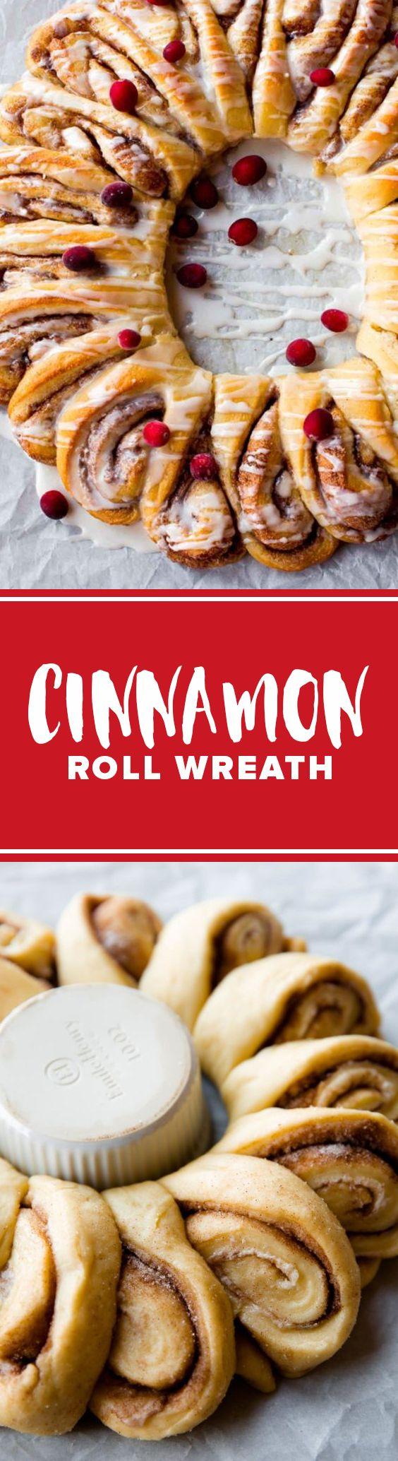 Deliciously beautiful cinnamon roll wreath!! Homemade easy cinnamon rolls with icing recipe on http://sallysbakingaddiction.com/2016/11/18/cinnamon-roll-wreath/