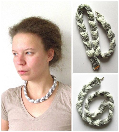 """Necklace """"Air"""" - hand knitted"""