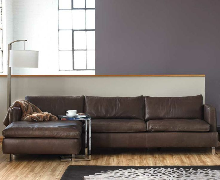 Romana Sectional In Gray Or Brown Leather, Feather And Down Cushions    Kasala   Industrial   Pinterest   Brown Leather, Feathers And Gray