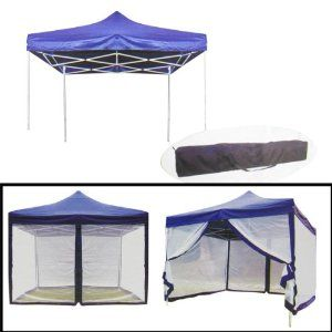 Tooluxe Durable X Canopy With Mosquito Net Foldable Blue Tarp Metal Frame