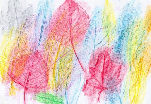 kreatywne prace plastyczne: JAK ZROBIĆ FROTTAGE Z LIŚCI, frottage with leaves