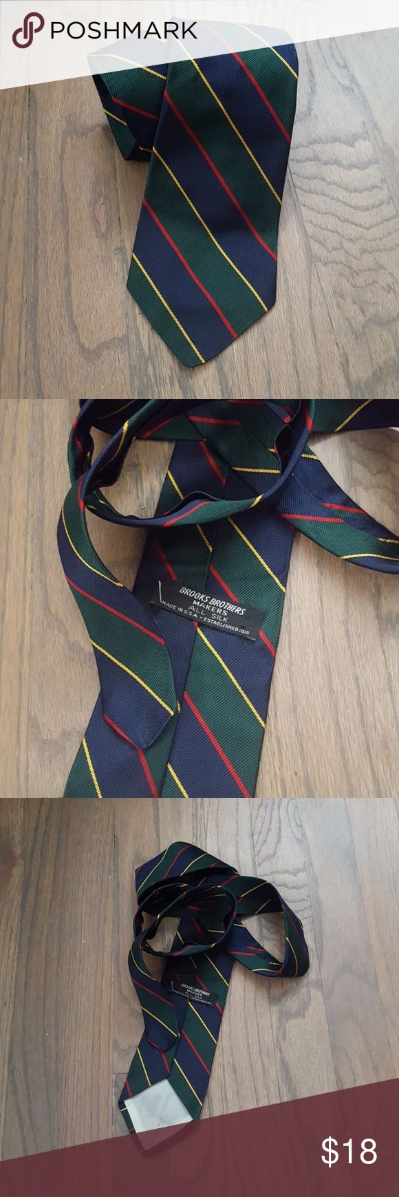 Vintage Brooks Brothers Silk USA Tie Traditionally classic vintage Brooks Brothers tie in Navy, Hunter green, gold, and crimson. Made in USA. Brooks Brothers Accessories Ties