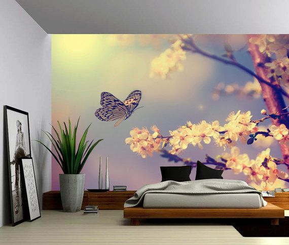 Butterfly Dream - Large Wall Mural, Self-adhesive Vinyl Wallpaper, Peel & Stick fabric wall decal