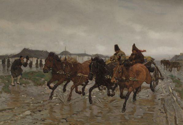 """Józef Chełmoński """"Czwórka"""", Paryż 1882, 61 x 93 cm, własność prywatna"""
