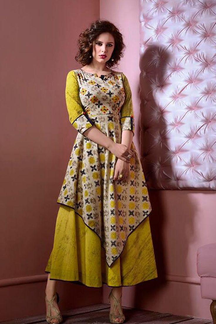 Yellow-Designer-Wedding-Wear-Full-Length-Cotton-Kurti-1077-6183 #bulk #wholesale #wholesalesupplier #wholesaledealer #bulksupplier #bulk dealer #cotton #kurti #kurta #printed #tunics #wholesaler #dailywear #officewear #stylish #westernwear #gownstyle #LKFABKART