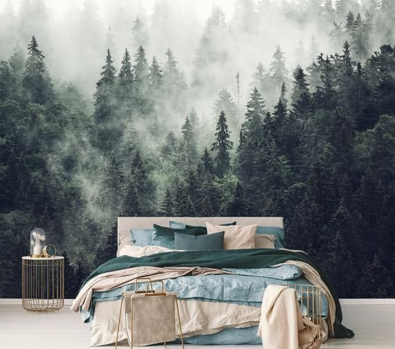 Pink Jungle Wallpaper Peel And Stick Vintage Wall Mural Etsy Foggy Forest Forest Wallpaper Pink Jungle Wallpaper