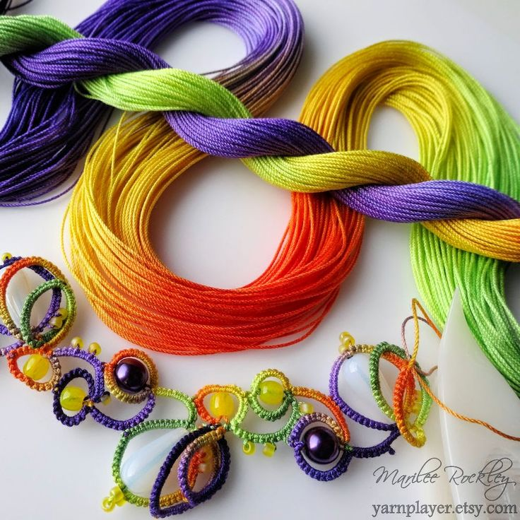 "Yarnplayer's Tatting Blog: ""Crocus"" colors in hand dyed thread"