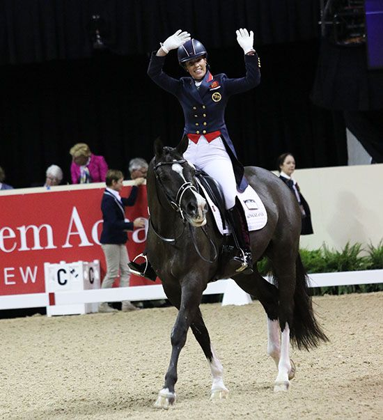 Charlotte Dujardin and Valegro aftertheir World Cup Grand Prix ride