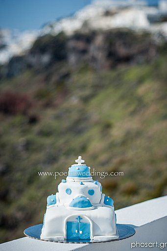 Santorini Church Wedding Cake by Petran Art Pastry Chef ! I Wedding Event Planner Poema Weddings  Special Events I Photography by Studio Phosart I Wedding Venue Dana Villas