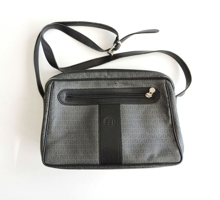 Authentic Vintage Fendi Bag, Italian Gray Black Leather Designer Shoulder Bag, Real Fendi Purse, Dust Cover, Made in Italy, Roma by ninthstreetvintage on Etsy
