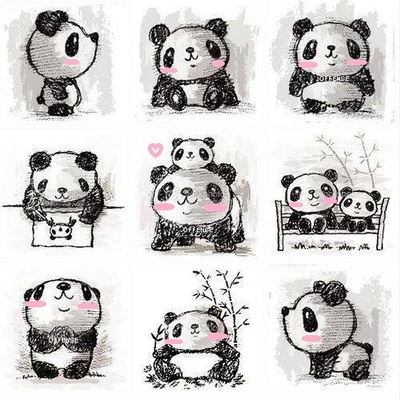 What adorable little kawaii panda sketches. So cute! I love all the different positions put together here.