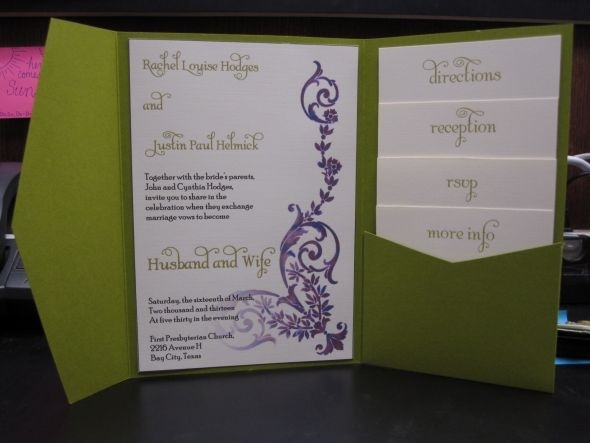 DIY Pocketfold Invite Prototype Wedding Romantic Vintage Garden Green Purple Ivory Diy