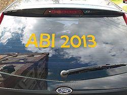 Heckscheibenaufkleber ABI 201X Fahrzeugbeschriftung - einzeilig -  60 cm lang