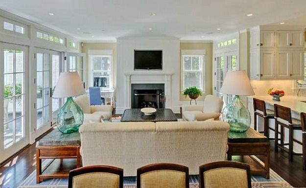 Brooke Shields Hamptons house gorgeous family room off small kitchen