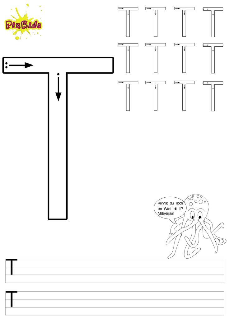 vorlage arbeitsblatt schreiben lernen grundschule vorschule buchstaben grossbuchstabe t. Black Bedroom Furniture Sets. Home Design Ideas