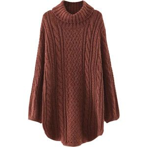 Brown High Neck Cable Long Sleeve Knit Dress