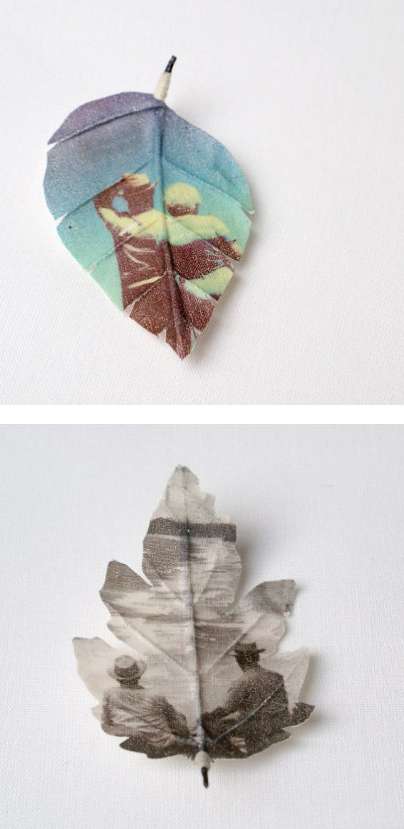 necklaces and brooches made of fabric printed with an old photograph