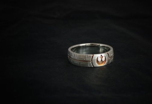 This rose-gold plated Star Wars ring fit for any rebel.   21 Engagement Rings Any Geek Will Say Yes To