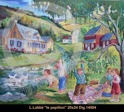 Original oil on canvas painting by Lise Labbé #labbe #art #artnaif #fineart #figurativeart #kidscharacters #summer #riverplay #canadianartist #quebecartist #originalpainting #oilpainting #balcondart #multiartltee