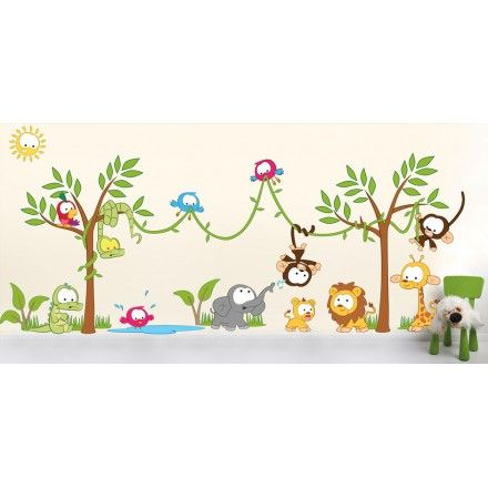decal scene wall decals jungle jungle nursery safari decal jungle ...