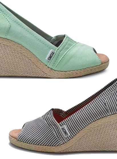 The TOMS Wedge. Love TOMS. Slip your feet into them and feel good knowing somewhere, a child has the chance to do the same :)